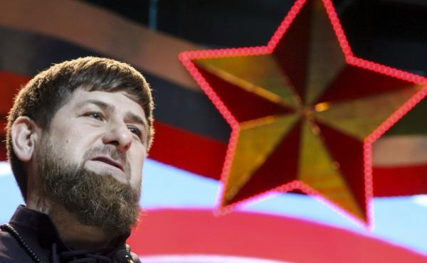 Chechen regional leader Ramzan Kadyrov speaks as he attends celebrations marking Defenders of the Fatherland Day in Chechnya's provincial capital of Grozny, Russia, in February.