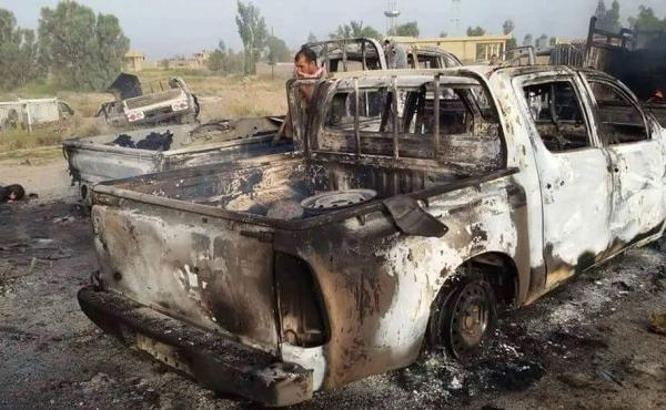 Iraq's Counterterrorism Service released an image showing a destroyed militant vehicle after Coalition and Iraqi security forces targeted Islamic State fighters on Wednesday.