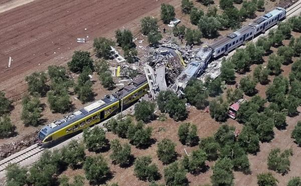 This aerial handout photo shows what is left of two commuter trains after their head-on collision in southern Italy on Tuesday.