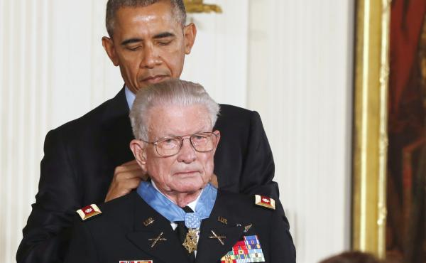 President Obama presents the Medal of Honor to retired Army Lt. Col. Charles Kettles for bravery during the Vietnam War. Obama said acknowledging Kettles was a gift for the nation following