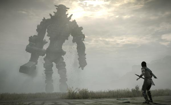 This image from the 2018 remake of Shadow of the Colossus emphasizes the lonely nature of its landscape.