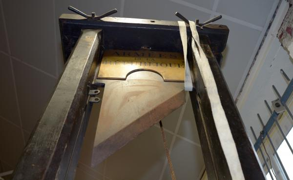 An authentic guillotine shown at a 2014 auction in Nantes, western France. A replica sold on Wednesday for $9,355.