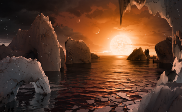 The possible surface of TRAPPIST-1f, one of the newly discovered planets in the TRAPPIST-1 system.