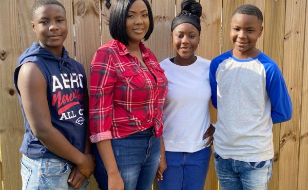 """Victoria Gray (second from left) with children Jamarius Wash, Jadasia Wash and Jaden Wash. Now that the gene-editing treatment has eased Gray's pain, she has been able be more active in her kids' lives and looks forward to the future. """"This is really a li"""