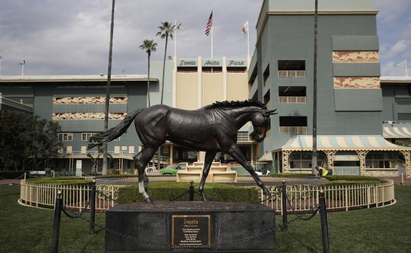 A statue of famous racehorse Zenyatta at Santa Anita Park in Arcadia, Calif.
