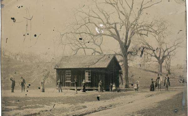 This 4-inch-by-5-inch tintype depicts Billy the Kid and several members of his gang, The Regulators, playing croquet in 1878. Billy is fourth from the left.
