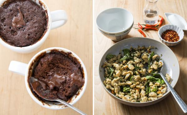 A Valentine's Day meal for two from America's Test Kitchen: coffee mug molten chocolate cake and Thai chicken with basil.