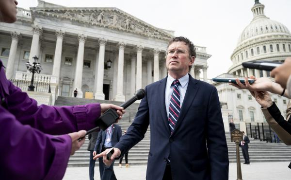 Rep. Thomas Massie, R-Ky., at the Capitol on Friday, tried to force a recorded vote on the $2 trillion coronavirus relief bill. Massie and other libertarians worry the bill will ruin the United States' creditworthiness.