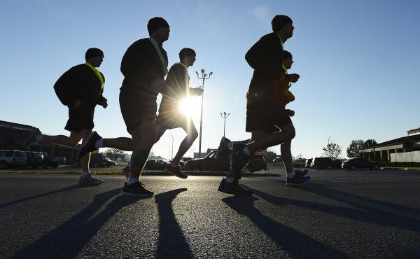 Members of the Pathfinders 5th Battalion, 101st Combat Aviation Brigade of the 101st Airborne Division, go for a run at Fort Campbell, Ky., in 2013. The Census Bureau says it will count deployed service members as residents of their home bases or ports fo