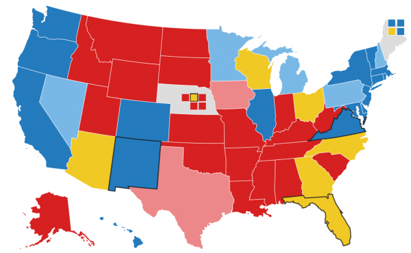 Map showing electoral college projections as of Sept. 16