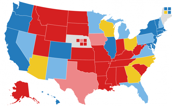 Map showing current NPR 2020 battleground projections