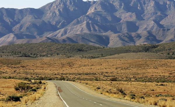 """Among the obstacles Katie Visco and her husband, Henley Phillips, had to get past were the Flinders Ranges, here seen near Hawker, Australia. """"We felt so much joy,"""" Visco says of the sight."""