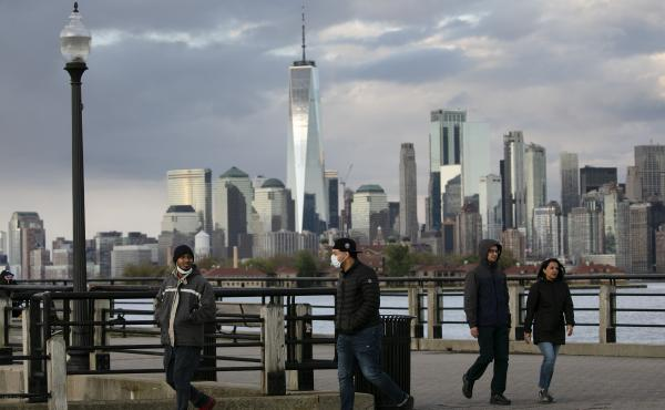 """New York City, as seen here from Jersey City, N.J. in May, is suing the Trump administration over its """"anarchist"""" designation."""