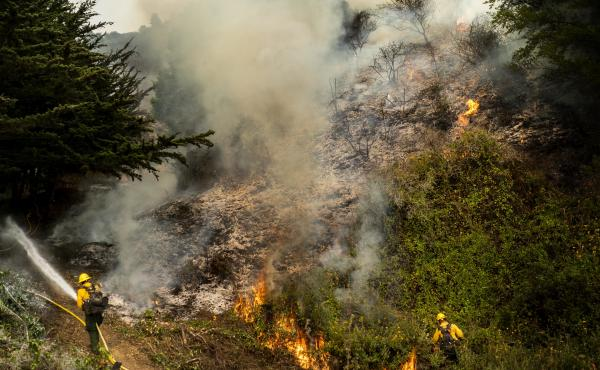 The Dolan Fire, pictured Aug. 22, has burned more than 37,000 acres along the central California coast. On Tuesday, more than a dozen firefighters battling the blaze deployed portable fire shelters, and three were hospitalized with injuries.