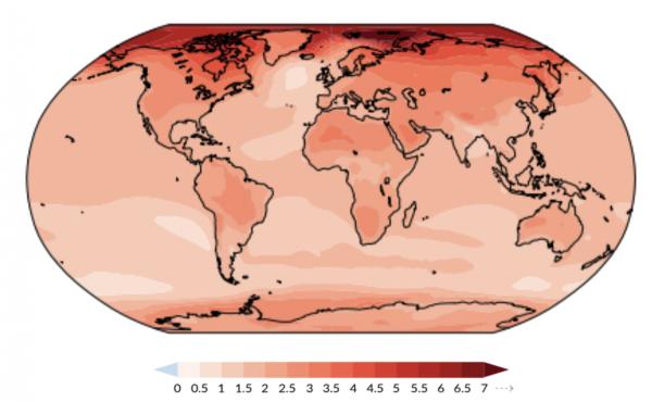 Globe at 2 degrees Celsius warming