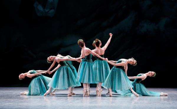 """Dancers from the Paris Opera Ballet perform """"Emeralds,"""" the first movement of George Balanchine's Jewels, which marks its 50th anniversary this year. (Jewels, choreography by George Balanchine, © The George Balanchine Trust)"""