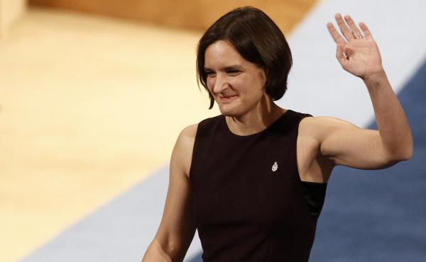 Esther Duflo of France waves after receiving the Princess of Asturias award for Social Sciences from Spain's King Felipe VI at a ceremony in Oviedo, northern Spain. She is only the second woman to win the 2019 Nobel Prize in Economic Sciences, sharing it