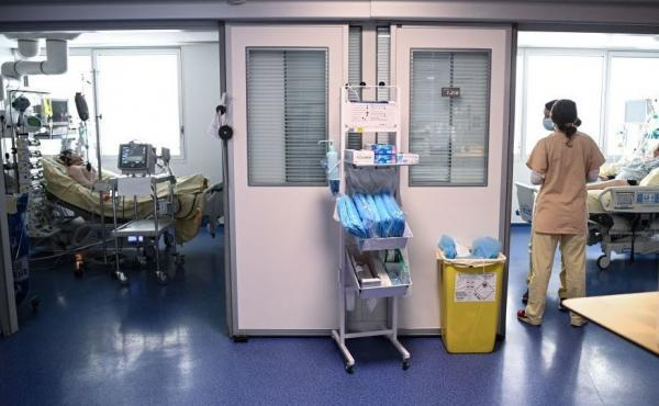 Medical staff tend to COVID-19 patients at the Georges Pompidou European Hospital in Paris in April.
