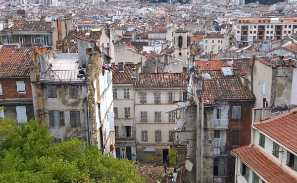 A gap now exists where two buildings collapsed on Monday morning in Marseille, France. A third building was damaged and also torn down.