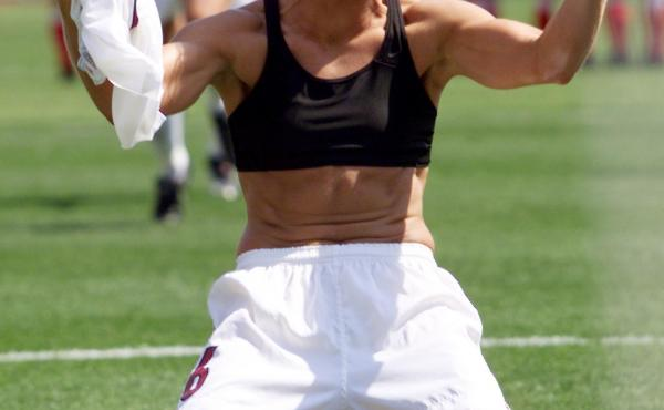 Brandi Chastain celebrates after scoring the winning goal of the 1999 World Cup.