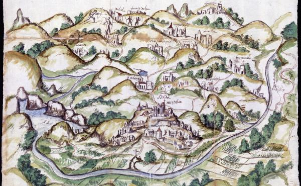 The Mapping Memory exhibition in at the Blanton Museum of Art in Austin, Texas, displays maps made in the late 1500s of what is now Mexico. They were created by indigenous peoples to help Spanish invaders map occupied lands. This watercolor and ink map of