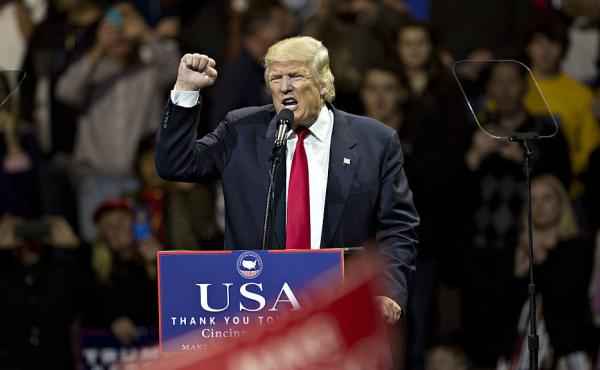 President-elect Donald Trump speaks during an event in Cincinnati on Thursday.