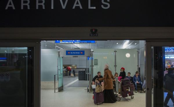 People from Yemen arrived at Los Angeles International Airport on Wednesday. On Thursday, a three-judge panel upheld a lower court's ruling that suspended President Trump's executive order banning travelers from Yemen and six other majority-Muslim countri