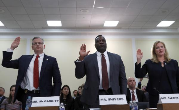 Michael McGarrity, FBI Assistant Director of the Counterterrorism Division; Calvin Shivers, FBI Deputy Assistant Director in the Criminal Investigative Division; and Elizabeth Neumann, an assistant secretary at the Department of Homeland Security, answer