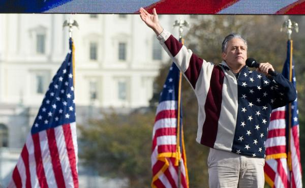 Daily Show host Jon Stewart addresses the crowd at his Rally to Restore Sanity And/Or Fear in Washington, D.C., in 2010.