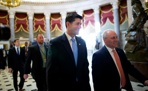 House Speaker Paul Ryan (center) walks to the House chamber ahead of a budget vote on Capitol Hill. Though Ryan was able to deliver 217 votes Thursday to get his GOP health plan through the House, there are still significant hurdles before the bill become