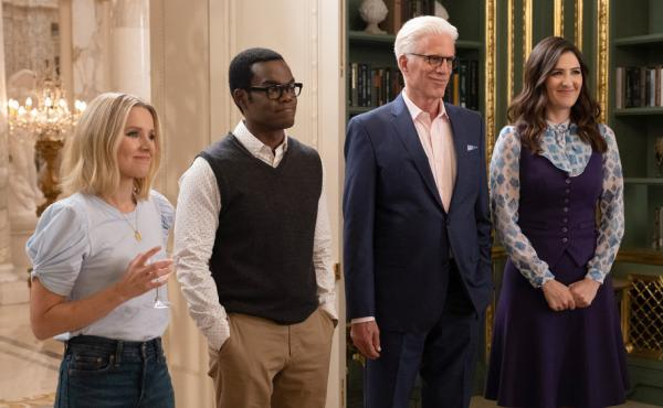 Kristen Bell, William Jackson Harper, Ted Danson and D'Arcy Carden in NBC's afterlife comedy series The Good Place, which ended after four seasons.