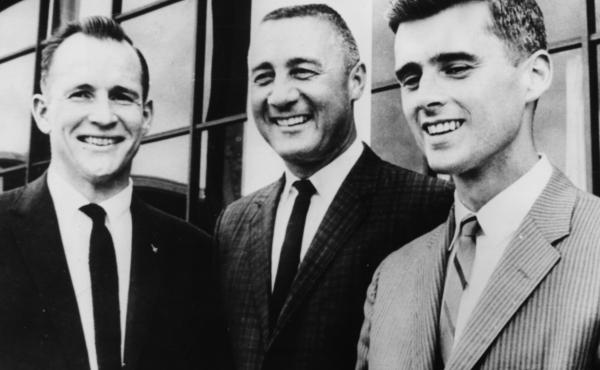 Apollo 1 astronauts Ed White (from left), Gus Grissom and Roger Chaffee, 1967. The astronauts died as a result of a fire in the cockpit during a training session on Jan. 27, 1967.
