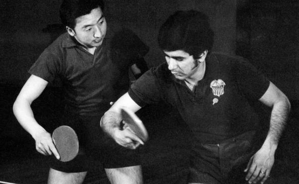 Chinese and U.S. table tennis players train together in April 1971 in Beijing. April 10 marks the 50th anniversary of what became known as pingpong diplomacy between the two nations.