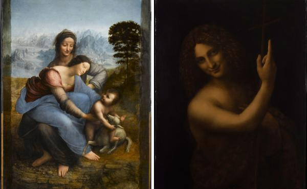 "When Leonardo da Vinci arrived in France in 1516, he brought three of his own paintings with him — ""Virgin and Child with Saint Anne"" (left), ""Saint John the Baptist"" (right) and the Mona Lisa."