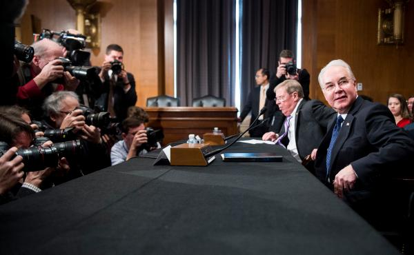 Secretary of Health and Human Services nominee Rep. Tom Price, R-Ga., (right) and Sen. Johnny Isakson, R-Ga., get settled before the start of Price's confirmation hearing Wednesday before the Senate Health, Education, Labor and Pensions Committee.