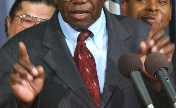 John Stokes, a student protester during the civil rights movement in the 1950's, speaks at a press conference in Richmond, Va., in 2004. As a high school senior in 1951, Stokes was one of the leaders of a student strike, protesting conditions at the all-b