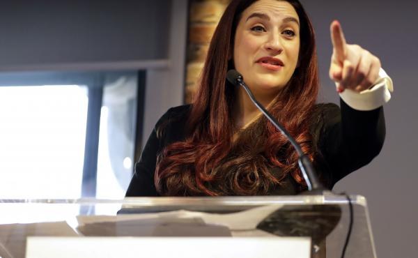 British politician Luciana Berger speaks Monday at a news conference to announce the formation of the Independent Group, as seven British members of Parliament quit the Labour Party because of its approach to Brexit and anti-Semitism.