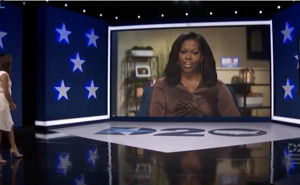 In this screenshot from the 2020 Democratic National Convention's livestream, actress and activist Eva Longoria introduces former first lady Michelle Obama.