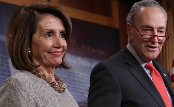 House Speaker Nancy Pelosi and Senate Minority Leader Chuck Schumer answer questions following an announced end to the partial government shutdown Friday.