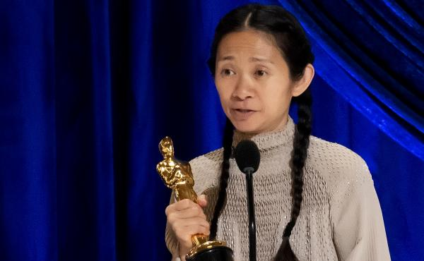 Chloé Zhao accepts the Oscar for best director during Sunday night's ceremony. Her film Nomadland also won best picture.