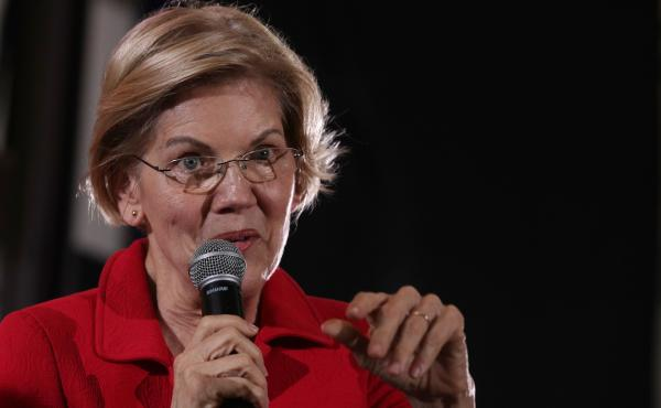 Democratic presidential candidate Sen. Elizabeth Warren of Massachusetts addresses the Moral Action Congress of the Poor People's Campaign on June 17 in Washington, D.C.