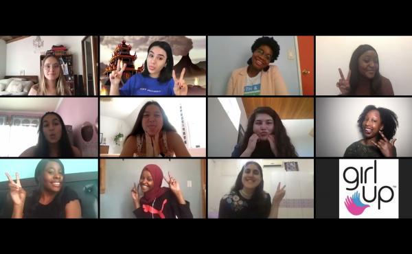 Teenage leaders in the global group Girl Up met for their annual conference via Zoom. NPR interviewed 11 of the attendees. Top row, from left: Salomé Beyer, Rebecca Fairweather, Alliyah Logan and Bethel Kyeza. Middle row, from left: Riya Goel, Nora DiMar