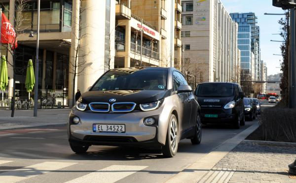 Norway is seeing a record boom in sales of electric cars, which far outpace gas and diesel vehicles. Here, an electric BMW drives on the street in downtown Oslo.