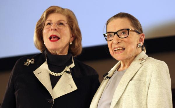 NPR's Nina Totenberg with the late Supreme Court Justice Ruth Bader Ginsburg in 2018.
