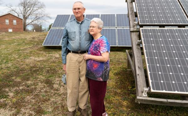 Daniel and Helen Pemberton support the huge solar farm planned in Spotsylvania County. They already have 40 solar panels in their own yard.