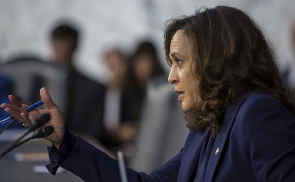Sen. Kamala Harris, D-Calif., questions Supreme Court nominee Brett Kavanaugh during his 2018 confirmation hearing on Capitol Hill. That took place in the run-up to her presidential bid. Now, she'll face the spotlight as her party's vice presidential nomi