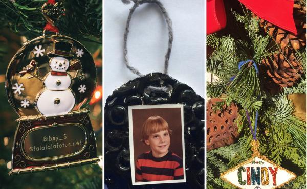 Ornaments from Kaitlin Stevenson, Joan Bowen, Cindy Hornberger and Israel Morales.