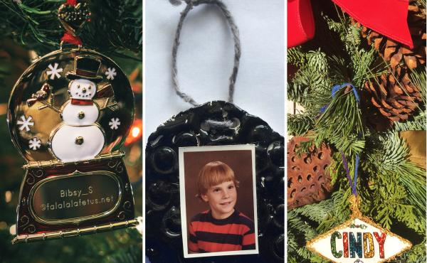 Ornaments from Kaitlin Stevenson, Joan Bowen, Cindy Hornberger and Israel Morales.