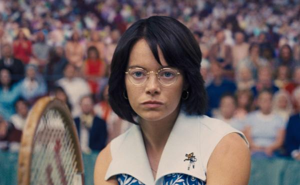 Emma Stone stars as the famous professional tennis player and gender equality activist, Billie Jean King, in Battle of the Sexes.
