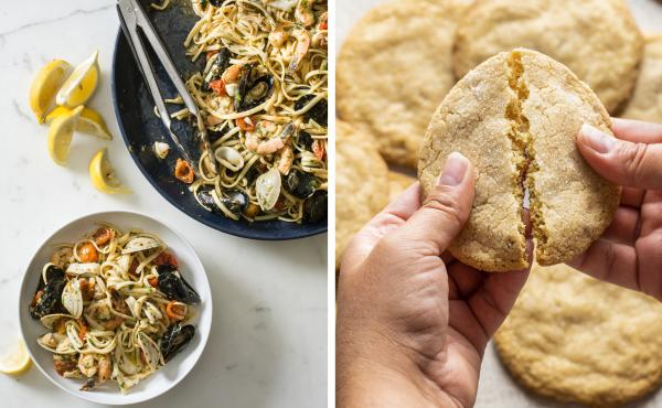 Linguine allo Scoglio and Chewy Hazelnut–Browned Butter Sugar Cookies from America's Test Kitchen.
